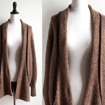 1980s Brown Boucle Textured Open Cardigan with Pockets