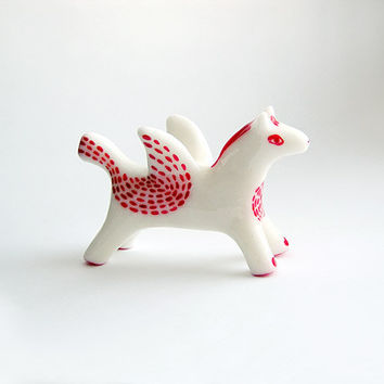 Animal figurine, White Horse Pegasus, horse totem, flying horse figure, red and white, hand painting, home decor, zoo
