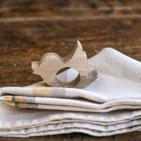 Napkin rings Twitter bird wooden SET of 4 rings table decor for your table setting wedding or theme party