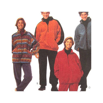 Uncut Pattern Misses & Mens Jacket, Top, Pants, Headband, Casual Wear Sweats Fall Autumn Clothes Size Large McCall's 7409 2 Hour Pattern