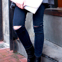 ROMWE | Broken Black Denim Slim Pants, The Latest Street Fashion