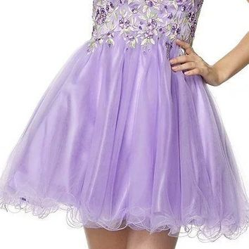 Juliet 788 Embroidered Bodice Corset Back Sweet Sixteen Dress Lilac