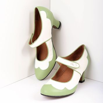 Royal Vintage Retro Style Sage Green & Ivory Leather Spectator Lillian Heels
