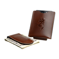 Browning Men's Cognac Leather Magnetic Money Clip with Pocket