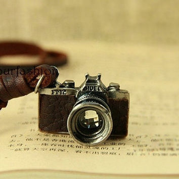 Christmas Gift Camera Leather Necklace-Vintage Style Brown Leather Crystal Camera Necklace SC-11 = 1932772612