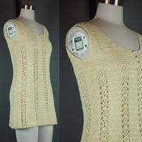 Vintage 70s Micro Mini Dress Knit 1970s Crochet Yellow Cream Open Knit Tunic XS
