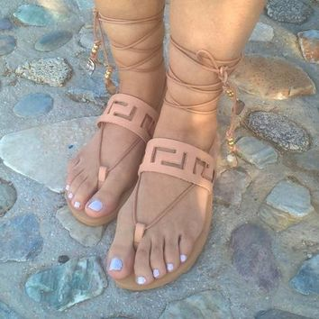Leather sandals,meander sandals,ancient greek sandals,Greek sandals,womens shoes,handmade sandals,gifts,sandals,womens sandals gladiator