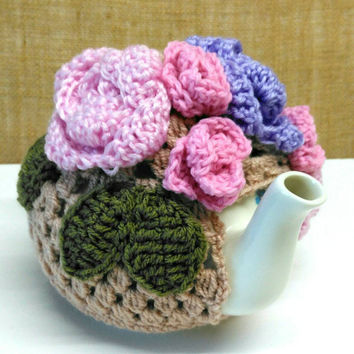 Rose, Roses, Rose Buds and Crochet Leaf Tea Cosy, Teapot Decor, Kitchen Decor, Tea party, Shabby Chic, Valentine Gift  Ready to ship from UK