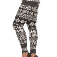 Women's Plus Tribal and Stripe Pattern Print Leggings - Black White