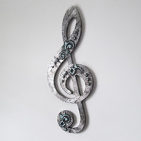 Large Treble Clef Wall Art, embossed faux steel finish, music decor, g clef musical wall hanging, industrial art