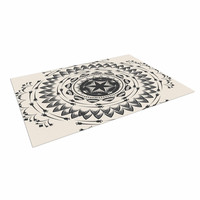 "Famenxt ""Boho Tribe Mandala"" Beige Black Indoor / Outdoor Floor Mat"
