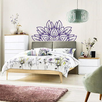 NEW Headboard Wall Decal Flower Mandala Bedroom Decor- Half Mandala Wall Decal- Master Bedroom Wall Decal- Headboard Vinyl Wall Sticker #239