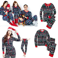 Christmas Family Matching Pajamas Set Snowflake Adult Kids Sleepwear Nightwear
