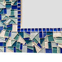 Large Mosaic Wall Mirror // Teal, Blue, White, Aqua // Made to Order // Wall Decor