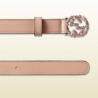 Gucci - thin leather belt with crystal interlocking g buckle 354380CLG6N5763