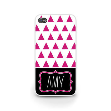 Hipster Triangles in Purple, Personalize it with your name / for iPhone 5, iPhone 6, Samsung S4, Samsung S5 and more - 0037