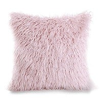 "Phantoscope Decorative New Luxury Series Merino Style Pink Fur Throw Pillow Case Cushion Cover 18"" x 18"" 45cm x 45cm"