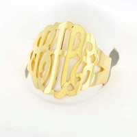 24K gold over Sterling Silver Monogram Ring - (ZR90850-GPSS)