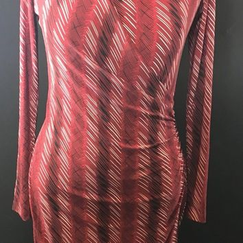 Norma Kamali Red  Black Faux Wrap Dress Sz Medium Designer Career