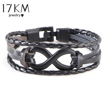17KM 3 Colors Men's Infinity Bracelet&Bangle Vintage Punk PU Leather friendship Bracelet Buckle Clasp pulseiras masculina
