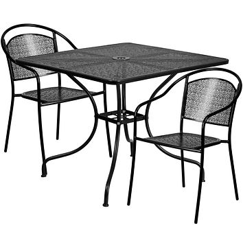 35.5'' Square Indoor-Outdoor Steel Patio Table Set with 2 Round Back Chairs