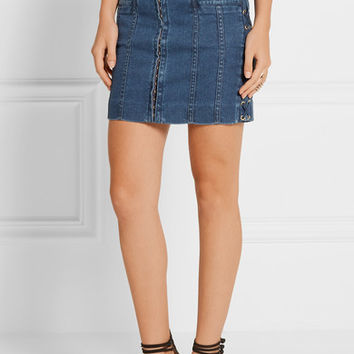 Balmain - Lace-up stretch-denim mini skirt