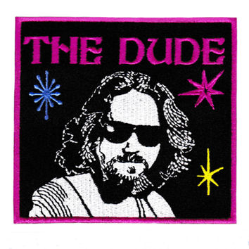 """Large & Very Cool """"The Dude"""" Iron On Bowling Patch 10.5cm"""