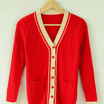 Red Long Sleeve Knitted Cardigan