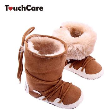 Newborn Cotton Soft Thick Baby Boy Girl Shoes Infant High-top Solid Boots Moccasins Wa