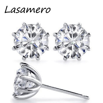 LASAMERO Vintage 8-Prong Stud Earrings 925 Silver Earrings Total 2 carat NSCD Simulated Diamond Stud Earrings Plated Gold