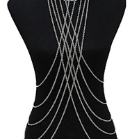Silver Cross Draped Body Chain