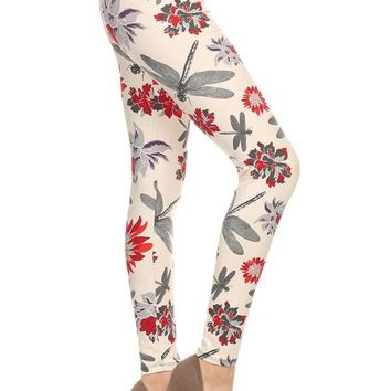 Women's Dragonfly Leggings Dragonflies and Flowers Ivory/Red/Gray: OS/PLUS