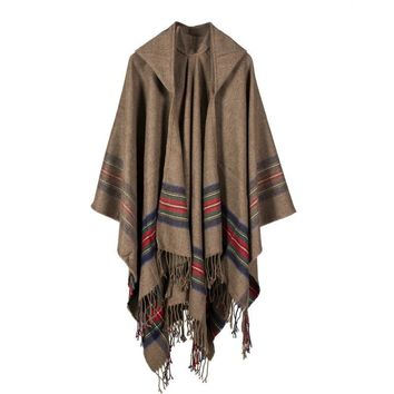 Thick Striped  Jacquard Cashmere Scarf Warm Luxury Brand Scotland  Cloak Tassel Woman Lady Autumn Winter 150*130CM 500g