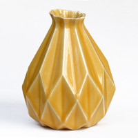 Geometric vase Yellow ceramic Origami inspired Gift idea For her & for him Contemporary style Home decor