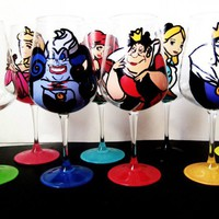 Princess Collection – set of 6 wine glasses – Pick your favorite Disney princesses and evil queens