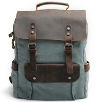 Retro Large Thick Canvas Travel Bag Rucksack Splicing Leather Camping Backpack