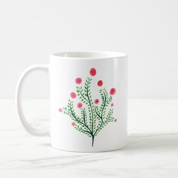 Abstract Spring Plant Pink And Green Ink Drawing Coffee Mug