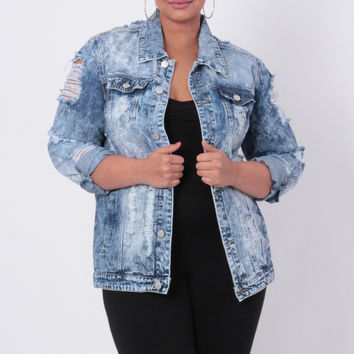 Plus Size Acid Washed Torn Jean Jacket -  Medium Wash