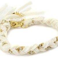 Ettika Cream Braided Vintage Ribbon Rhinestone Crystal Bracelet - Like Love Buy