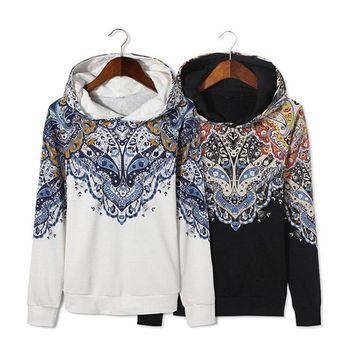 Fashion Men`s Floral Printed Hoodie White Black Plus Size 5XL Paisley Casual Sweatshirts With Hood For Men Big and Tall