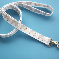 Fabric Lanyard ID Badge Holder - Lobster clasp and key ring - mini gray elephants