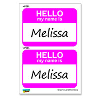 Melissa Hello My Name Is - Sheet of 2 Stickers