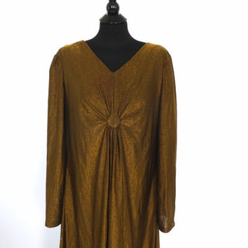 PLUS SIZE Large Vintage 1960s 1970s Diva Gown Metallic Gold Bronze Lame 60s Maxi Dress Mod Hostess Dress Motown Disco Diva Halloween Costume
