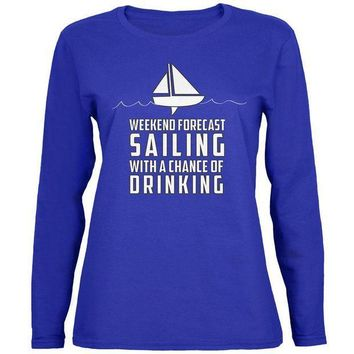 PEAPGQ9 Weekend Forecast Sailing Womens Long Sleeve T Shirt