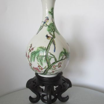 Japan Bottle Shaped Cherry Blossom Flower Vase Decorated Enamel Birds Marked