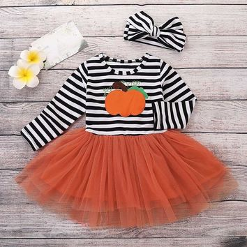 MUQGEW Halloween Costume for Kids Baby Girls Pumpkin Striped Long Sleeve tutu Dress  with bowknot Headbands set outfits #TX4