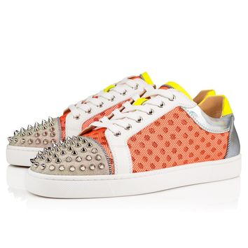 Christian Louboutin Cl Ac Seavaste Spikes Version Orange Fluo Mesh/glitter Sunset 1191296o118 19s Sneakers - Best Online Sale