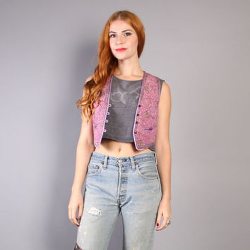 70s INDIAN COTTON VEST / Boho Lavender Quilted Cropped Top, xs-s