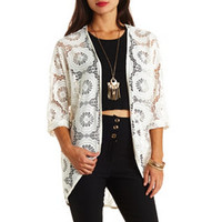 LONG CROCHETED LACE KIMONO TOP