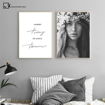 Nordic Style Motivational Poster Girl Black White Canvas Print Minimalist Wall Art Painting Decorative Picture Home Decor